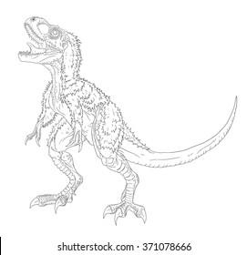 tyrannosaurus rex eating struthiomimus line drawing stock