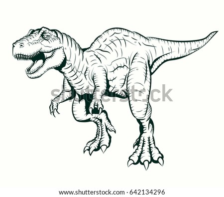 Tyrannosaurus Rex Illustration Coloring Book Stock Illustration