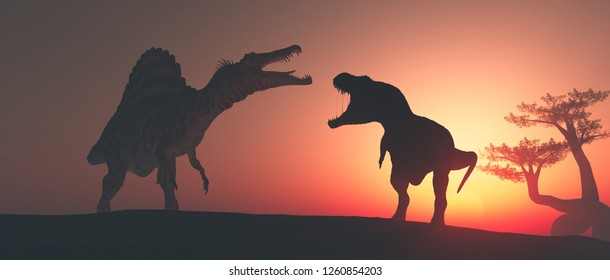 Tyrannosaurus Rex in the jungle at sunset. This is a 3d render illustration