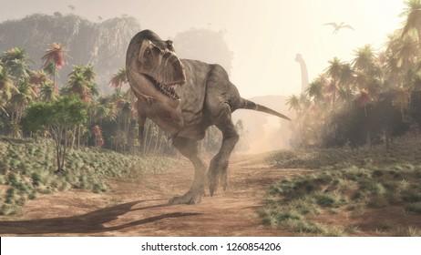 Tyrannosaurus Rex en la selva. Esta es una ilustración de representación 3d