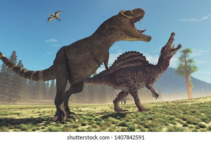 Tyrannosaurus Rex in the jungle. This is a 3d render illustration