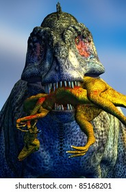 Tyrannosaurus Rex killing, eating and carrying a smaller dinosaur in its mouth.  Illustration