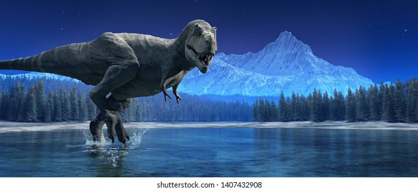 Tyrannosaurus Rex in the lake. This is a 3d render illustration