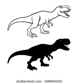 Tyrannosaurus rex outline and silhouette illustrations set. Dangerous dinosaur, extinct animal ink pen drawings. Jurassic period, paleontology logo. Prehistoric wildlife line art design element
