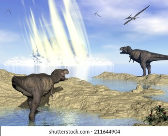 Tyrannosaurus rex and pteranodon looking at meteorite impact in Yucatan, Mexico, that created Chicxulub crater and induced end of dinosaurs - 3D render