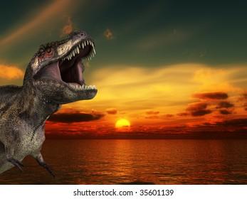 A Tyrannosaurus Rex roaring at a sunrise.