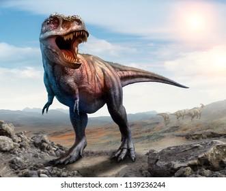 Tyrannosaurus rex scene 3D illustratio