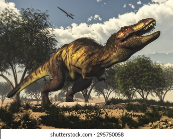 Tyrannosaurus rex standing upon its eggs to protect them by day, next to tamaris trees and onychiopsis plants - 3D render
