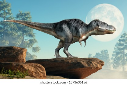 A tyrannosaurus rex stands on a cliff infront of the full moon. The most popular dinosaur, this predator lived during the Cretaceous period. 3D Rendering.