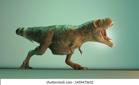 Tyrannosaurus-rex posing in studio. 3d render