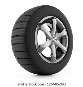 Tyre and wheel isolated on white background. 3D illustration.