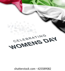 UAE Abstract waving Flag and Plain background with Typography Celebrating Women Day 8th March