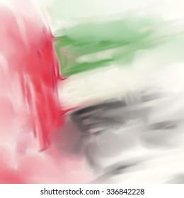 UAE Colors Art, United Arab Emirates Flag Oil Canvas (Digital Oil Painting on Canvas)
