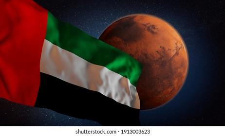 UAE flag and Mars, spaceflight missions illustration 3d rendering, United Arab Emirates