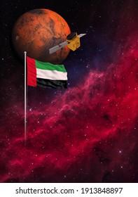 UAE Hope Probe mission to Mars. 3D rendering illustration.