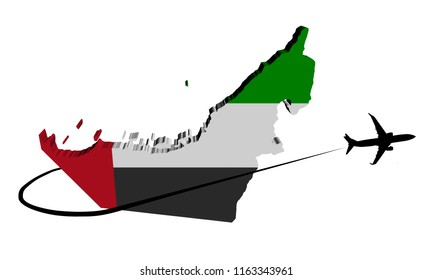UAE map flag with plane silhouette and swoosh 3d illustration