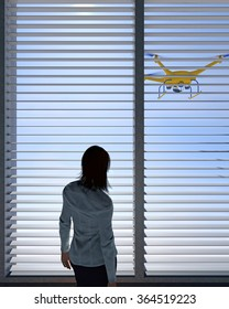 UAV drone peering through a window with horizontal blinds as a female human figure looks on. Fictitious UAV is a unique design. Depiction of erosion of privacy through technology.