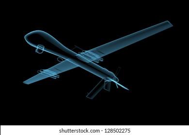 UAV predator drone (3D x-ray blue transparent isolated on black)