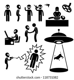UFO Alien Invaders Stick Figure Pictogram Icon