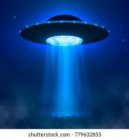 UFO. Alien spacecraft with light beam and fog. UFO Illustration