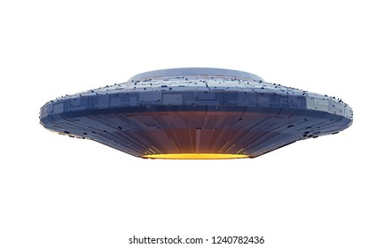 UFO, alien spaceship with extraterrestrial visitors, flying saucer (3d space rendering isolated on white background)
