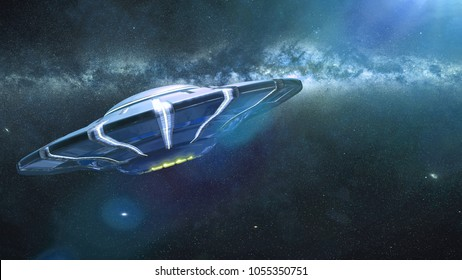 UFO, alien spaceship in outer space, extraterrestrial flying saucer and the Milky Way galaxy (3d illustration)