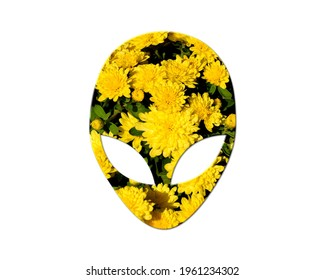 UFO ET Alien Sunflowers Icon Logo Symbol, 3d illustration