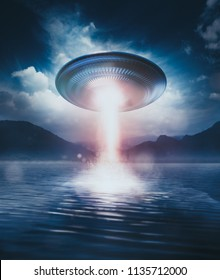 UFO floating on top of a lake with light beam /3D illustration / mixed media