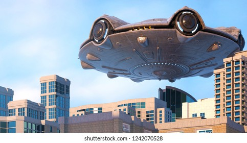 UFO flying over the city. 3d illustration