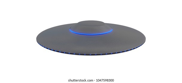 UFO - Flying Saucer - isolated on White background - Blue lights - top view