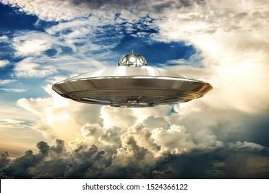 ufo flying in the sky 3d illustration