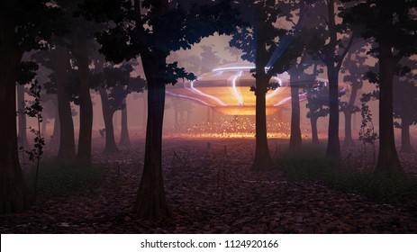 UFO landing in the forest at night, science fiction scene with alien spaceship (3d space illustration)