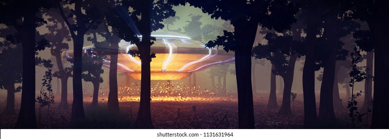 UFO landing in the forest at night, science fiction scene with alien spaceship and mysterious lights (3d space illustration banner)