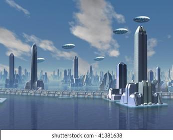 UFO over Futuristic Alien City