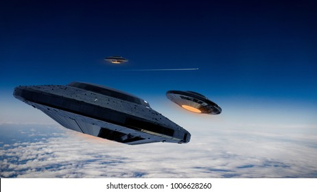 UFO, science fiction scene alien spaceships from outer space, extraterrestrial visitors in flying saucers observing a plane (3d illustration)