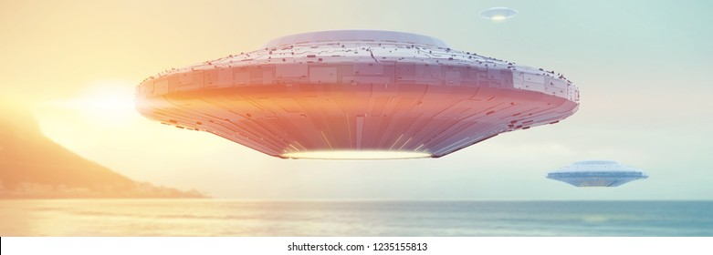 UFO, science fiction scene with alien spaceship, extraterrestrial visitors in flying saucer over the ocean (3d space illustration banner)