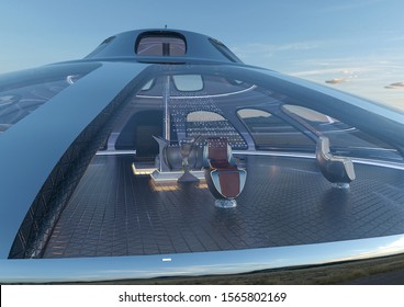 ufo space ship close up, 3d illustration