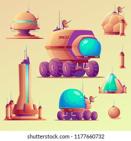 UFO, space ships of extraterrestrial alien invaders, space research stations and technical equipment, cartoon set illustrations. Elements for game design.