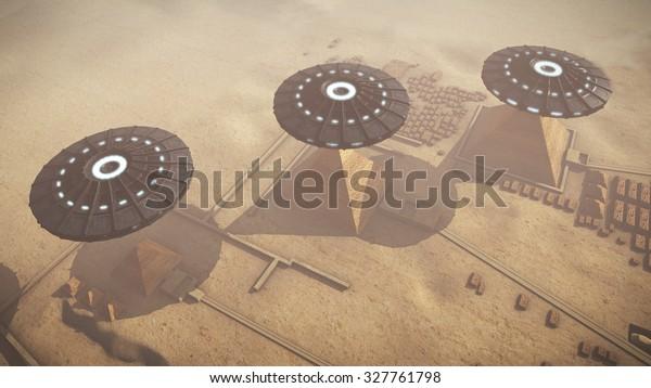 UFOs above Egypt Giza platform. 3D rendering