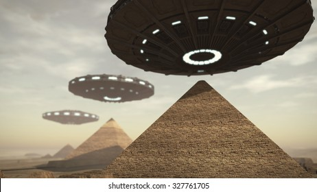 UFOs above Egypt pyramids. 3D rendering