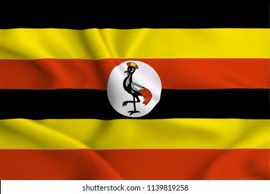 Uganda 3D waving flag illustration. Texture can be used as background.