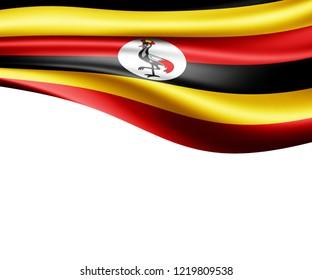 Uganda flag of silk and white background-3D illustration