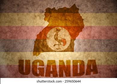 uganda map on a vintage ugandan flag background