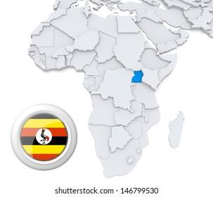Uganda with national flag