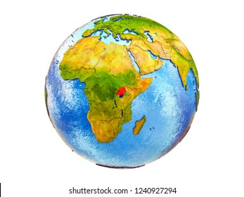 Uganda on 3D model of Earth with country borders and water in oceans. 3D illustration isolated on white background.