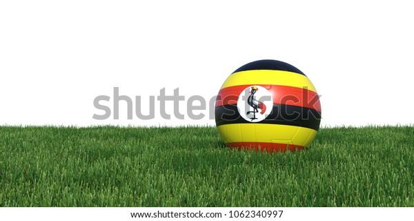Uganda Ugandan flag soccer ball lying in grass, isolated on white background. 3D Rendering, Illustration.