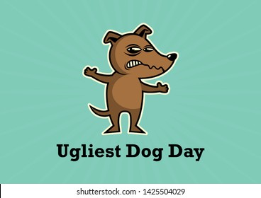 Ugliest Dog Day Poster. Angry Dog illustration. Rabid dog icon. Brown Dog cartoon character. Competition of ugly dogs