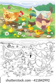 Ugly duckling. A fairy tale. Illustration for children. Coloring book. Coloring pages. Cute cartoon characters.