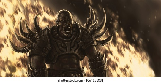 Ugly monster in armor against the backdrop of fire. Genre of fantasy.