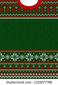 Ugly sweater Merry Christmas and Happy New Year greeting card frame border . illustration knitted background seamless pattern with folk style scandinavian ornaments. White, red, green colors.